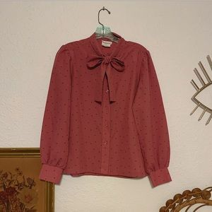 Vintage rose pussybow blouse